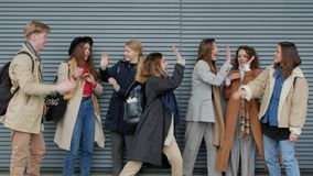 Students give a high five to each other. Attractive group of happy young women and guy giving a high five to each other. Company of students show successful sign stock footage
