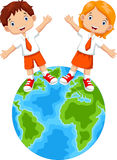 Students and globes cartoon Stock Image