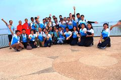 Students go on study Tour in Num Ngum Dam, Laos Stock Images