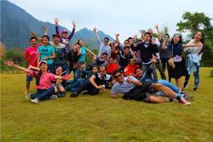 Students go on study Tour in Vang Vieng city, Laos Stock Images