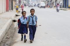 Students go to school in Kathmandu, Nepal Royalty Free Stock Photography