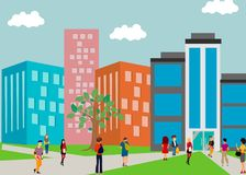 Students go to university. city. people. large buildings. multi-story houses stock illustration