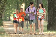 Students goes to classes at the University.photo with copy space.  stock image