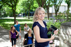 Students going to college Royalty Free Stock Image