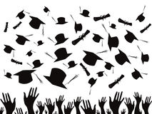 Students graduating and tossing caps. On white background Stock Image