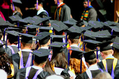Students at graduation. Students waiting in line for graduation ceremony Stock Image