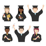 Students in graduation gown and mortarboard Royalty Free Stock Photography