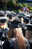 Students at Graduation. Students at an outdoor university commencement ceremony. The image orientation is vertical and there is copy space Stock Image