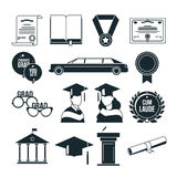 Students graduation party in monochrome style. Black vector icons set vector illustration