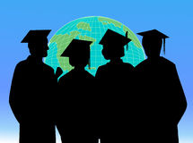 Students graduation vector. Students in the graduation day around the world Royalty Free Stock Image