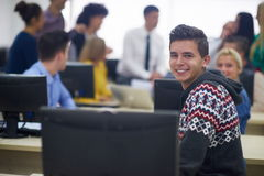 Students group in computer lab classroom Stock Photography