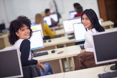 Students group in computer lab classroom Stock Images