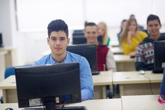 Students group in computer lab classroom Royalty Free Stock Photo