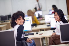 Students group in computer lab classroom Royalty Free Stock Photography