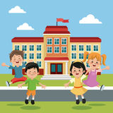 Students group happy back school building Royalty Free Stock Images