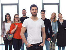 Students group standing together as team. In modern school university, teamwork business concept Royalty Free Stock Image