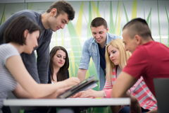 Students group study. Together in school classroom and working together homework project Royalty Free Stock Image