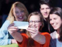 Students group taking selfie Stock Photo
