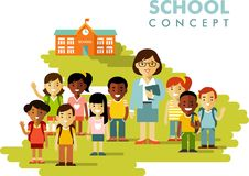 Students group and teacher on school background  Stock Image