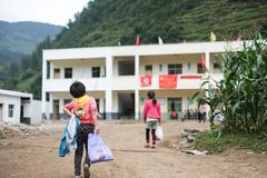 Students in Guizhou mountain region Stock Images