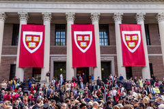 Students of Harvard University gather for their graduation ceremonies on Commencement Day. CAMBRIDGE, MA - MAY 29: Students of Harvard University gather for royalty free stock photography