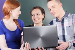 Students having a break on classes royalty free stock image