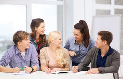 Students having discussion at school Royalty Free Stock Image
