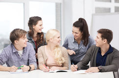 Students having discussion at school Stock Image