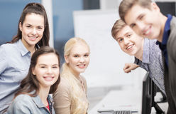Students having discussion at school Royalty Free Stock Photos