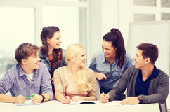 Students having discussion at school Stock Photography