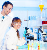 Students having fun in lab. Stock Image