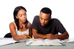 Students helping studying together royalty free stock photo