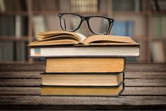 Students. Hipster books nerd glasses university retro royalty free stock images