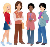 Students. Illustration: group of cute multi-ethnic students Stock Photos