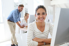 Students in informatics class with professor Royalty Free Stock Images