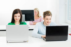 Students at the informatics and programming lesson.  Stock Images