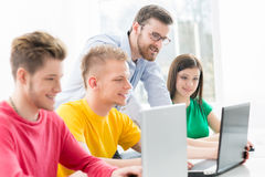 Students at the informatics and programming lesson.  Royalty Free Stock Image