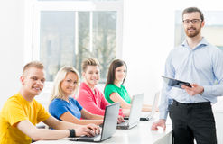 Students at the informatics and programming lesson Stock Photography