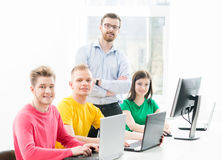 Students at the informatics and programming lesson.  Royalty Free Stock Photo