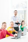 Students at the informatics and programming lesson.  Royalty Free Stock Images