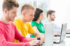 Students at the informatics and programming lesson Stock Images