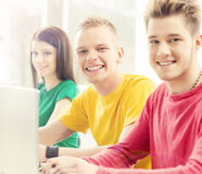 Students at the informatics and programming lesson Royalty Free Stock Images
