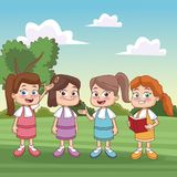 Students kids at park. Icon vector illustration graphic design Stock Image