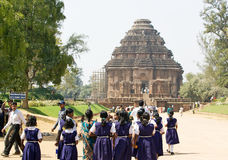 Students at the Konarak Sun Temple Stock Image