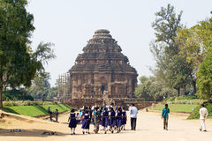 Students at the Konarak Sun Temple Royalty Free Stock Photos