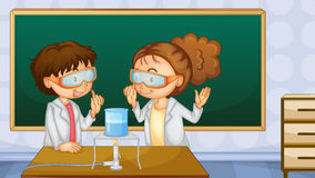 Students in lab. Illustration of two students working in the lab Stock Photography