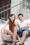 Students with laptop Royalty Free Stock Photo