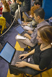 Students on laptop computers Stock Photography