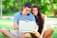 Students with laptop Stock Images