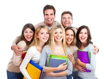 Students. Large group of smiling  students. Isolated over white background Royalty Free Stock Photos